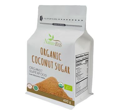 flat bottom coconut sugar white label